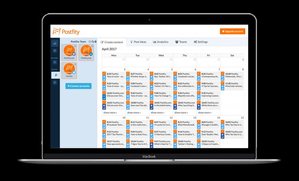 Postfity Platform Desktop View