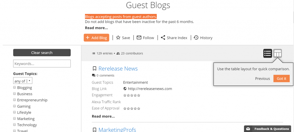 Guest Post Blog Database Dexhive