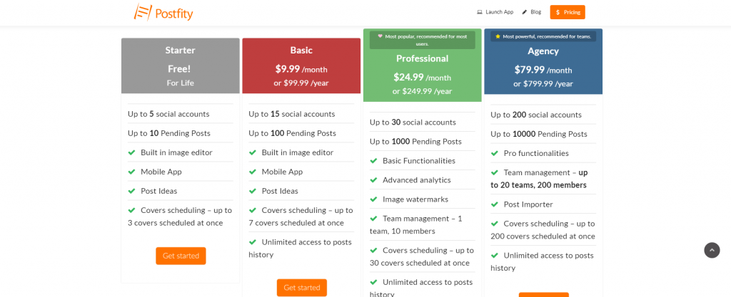 Postfity Social Media Scheduler pricing