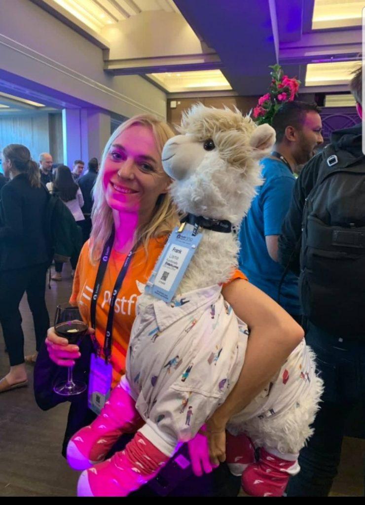 SaaStr conference Emilia Postfity with Llama