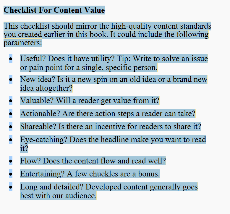 Checklist for content value
