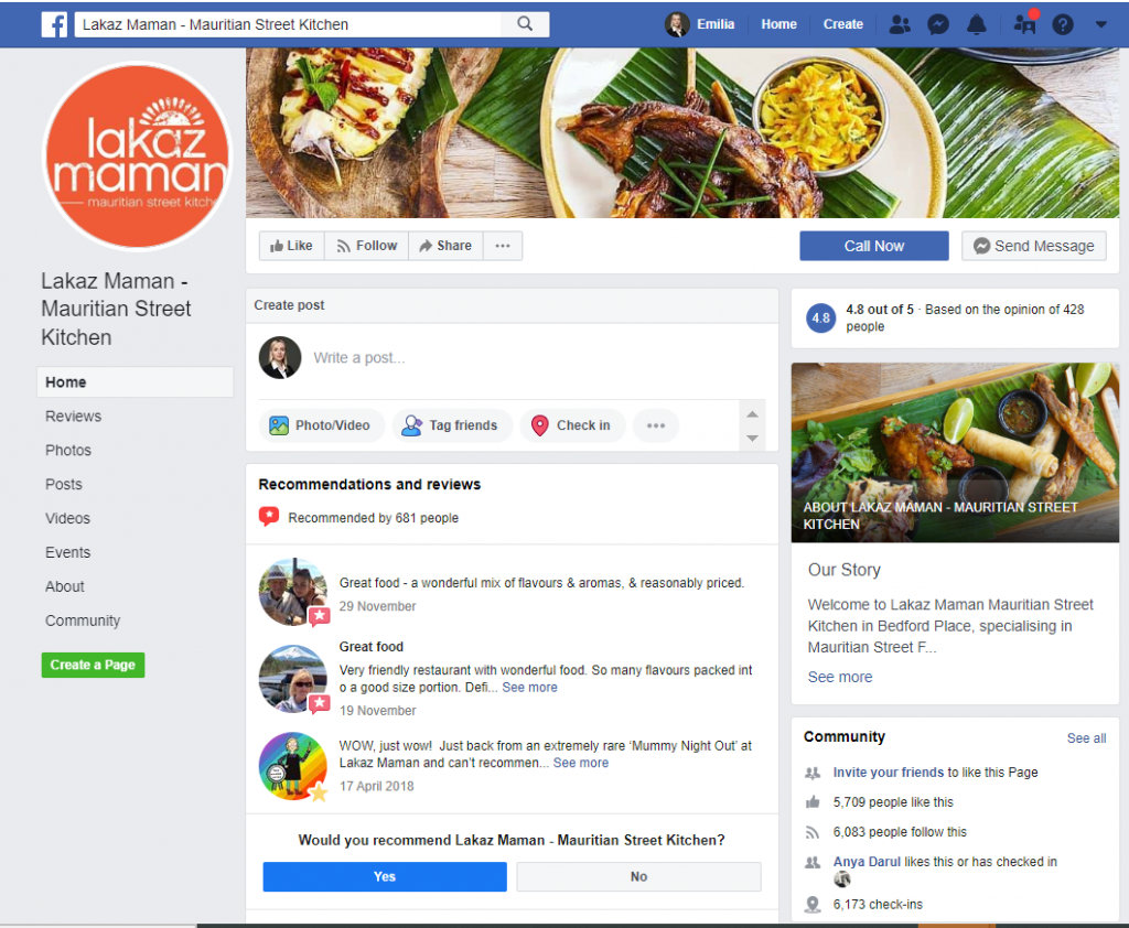 how to promote a restaurant using facebook - Lakaz Maman FB Page