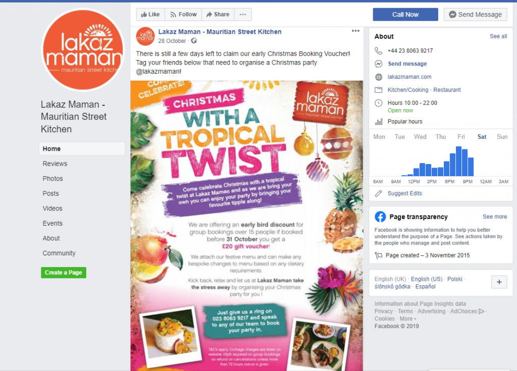 competitions - festival food - Christmas menu beautiful photos - christmas menu screenshot - Cross promoting and creating a sense of urgency - - restaurant facebook post ideas