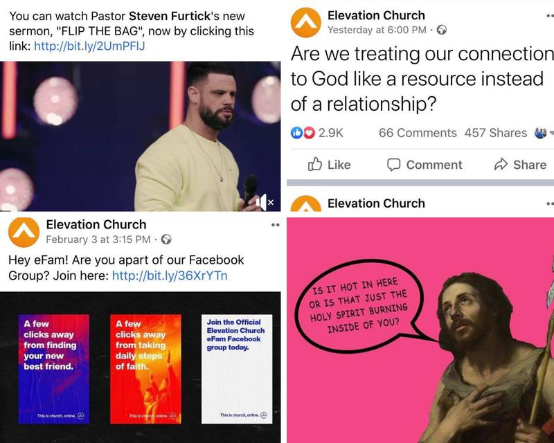 Examples of Elevation Church social media