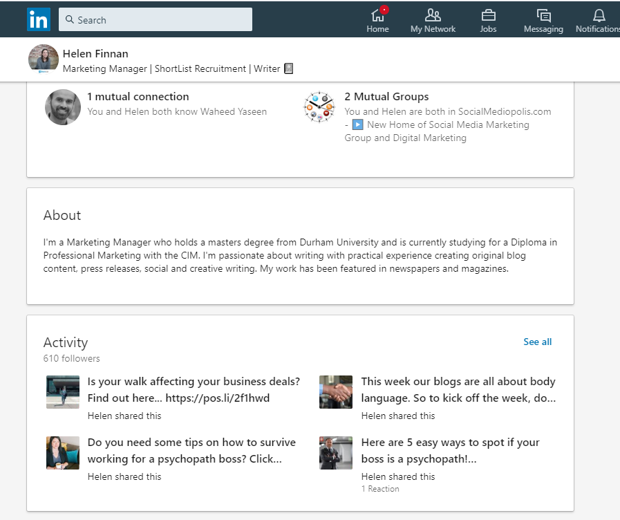 Helen Finn from Shortlist recruitment LinkedIn Feed