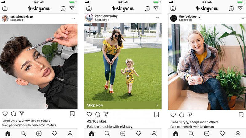 Instagram Image posts with different profiles