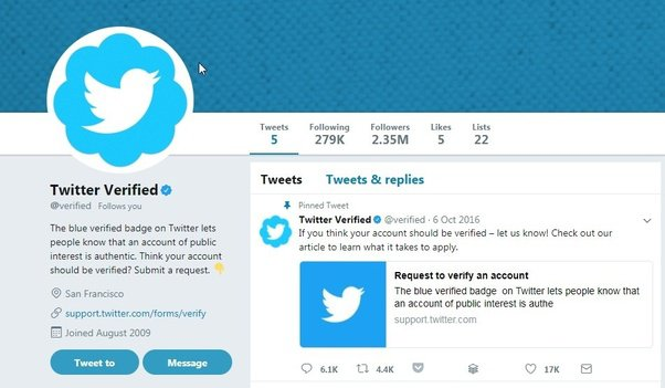 Twitter profile with Twitter verified stamp