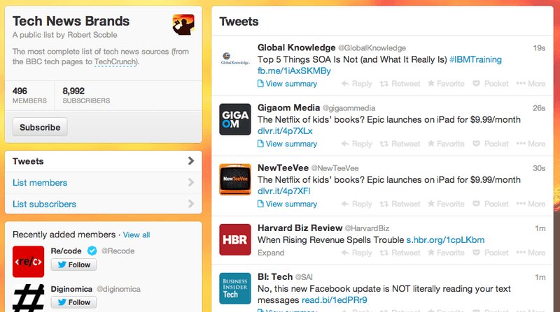 Twitter lists with Twitter business profiles