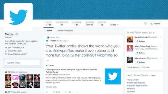 Twitter profile for business with Twitter logo