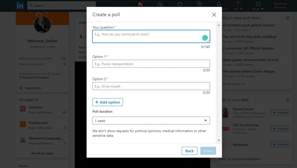Creating a Linkedin Poll step 2
